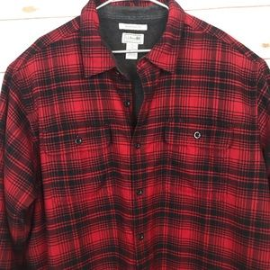 LLBean Fleece-Lined Flannel Shirt Red/Black Plaid